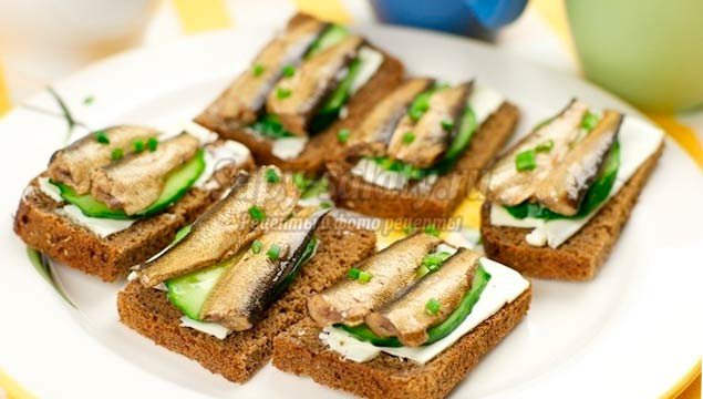 Как сделать бутерброды с шпротами фото