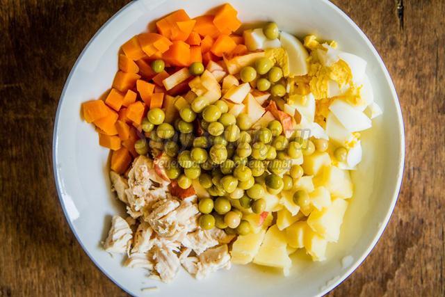 оливье с курицей к Новому году