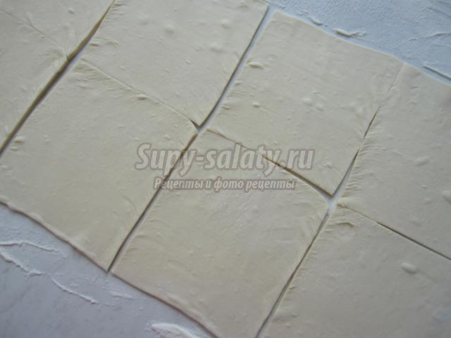 квадратные хачапури из слоеного теста