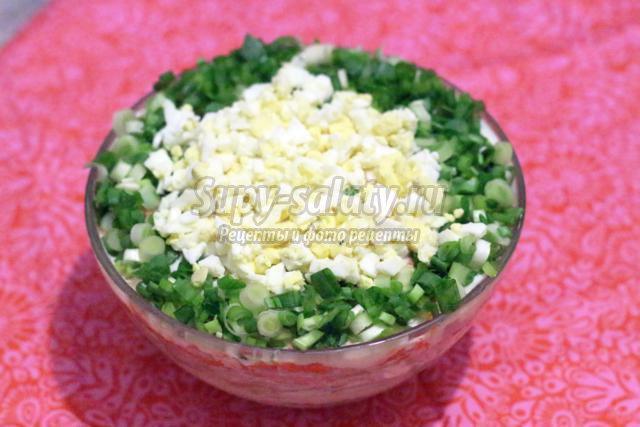слоёный салат с ветчиной и шампиньонами