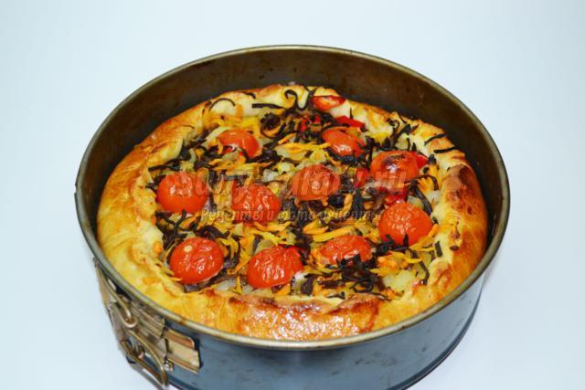 постный пирог с китайскими древесными грибами