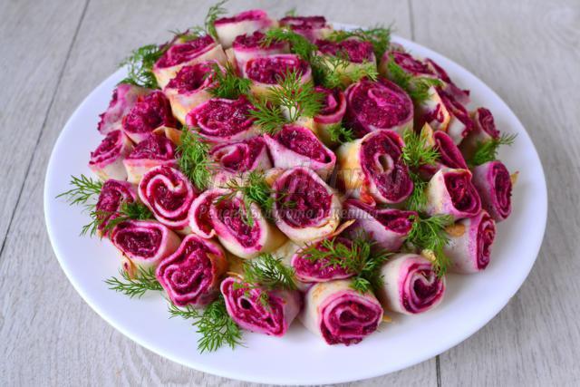 3 салат «селедка под шубой — букет роз» — рецепт.