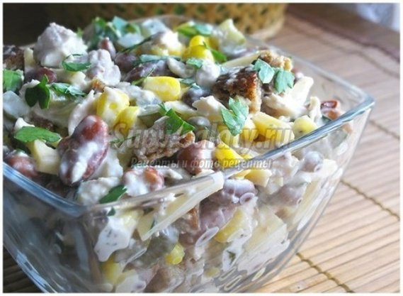 Салат из фасоли с бужениной, пошаговый рецепт с фото