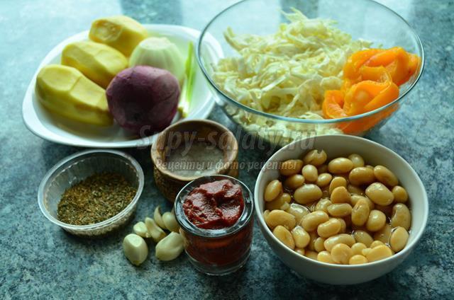 Постный борщ с фасолью и болгарским перцем