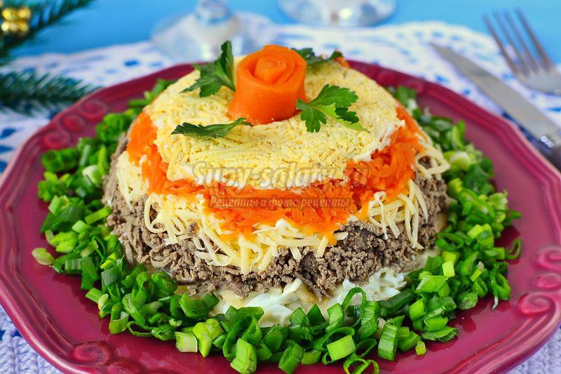 Слоеный салат пошаговый рецепт с