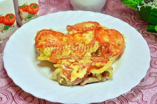 Мясо с помидорами под луковой шубой  в мультиварке