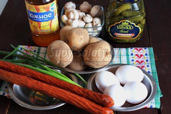 Пасхальный тёплый салат с шампиньонами