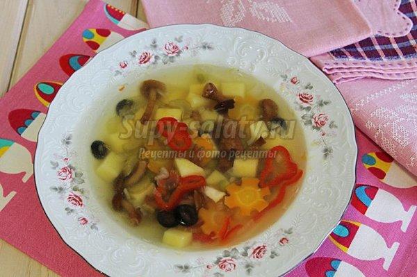 Овощной суп с опятами в мультиварке