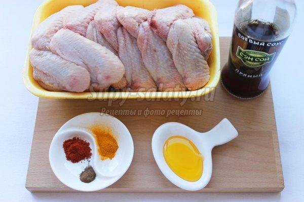 Куриные крылышки, маринованные в медово-соевом соусе