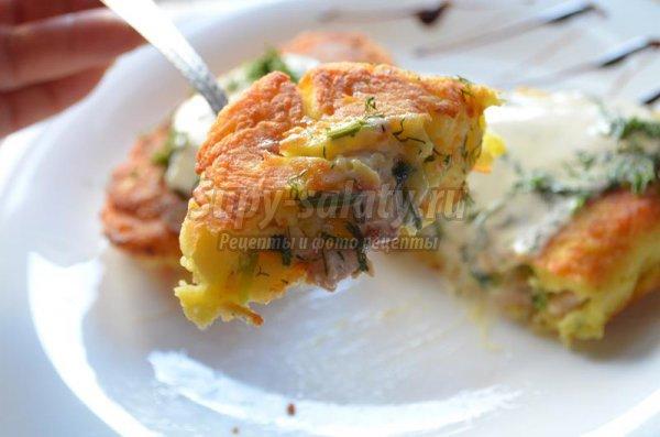 Зразы с рубленым куриным филе и зеленым луком