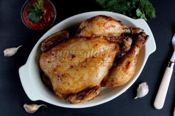 Курица, запеченная в чесночном соусе