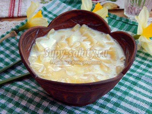 Молочный суп с макаронами в мультиварке