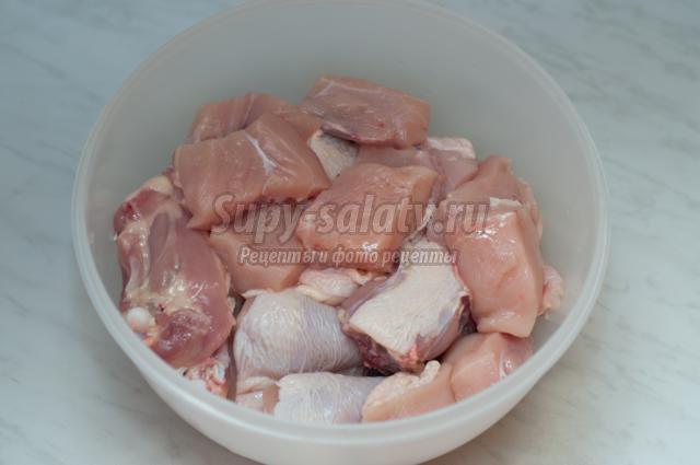шашлык из курицы в духовке