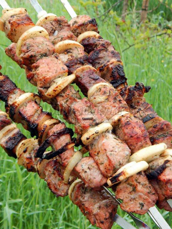 шашлык из свинины на костре