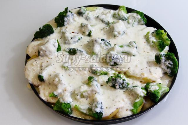 картофельная запеканка с брокколи без соли