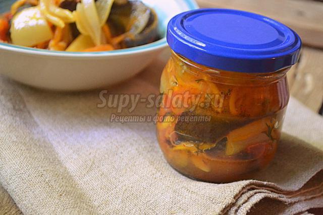 салат из баклажанов с изюминкой на зиму