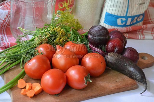 томаты маринованные со сливами