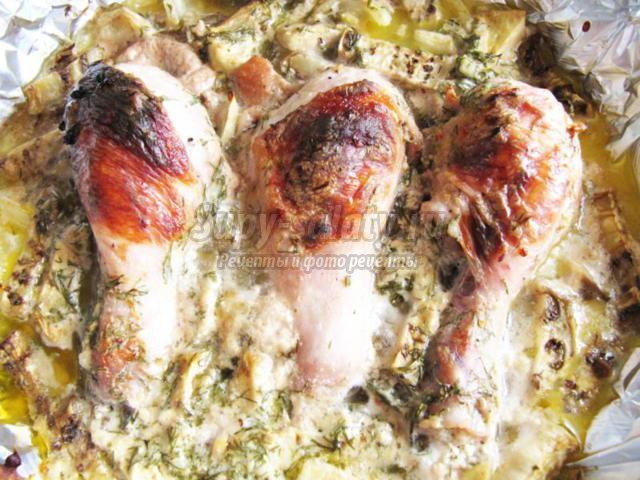 куриные голени с баклажанами в духовке