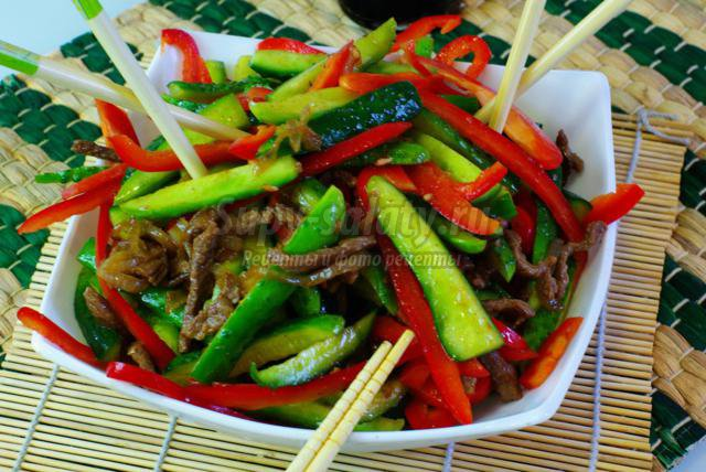 мясо с огурцами по-корейски