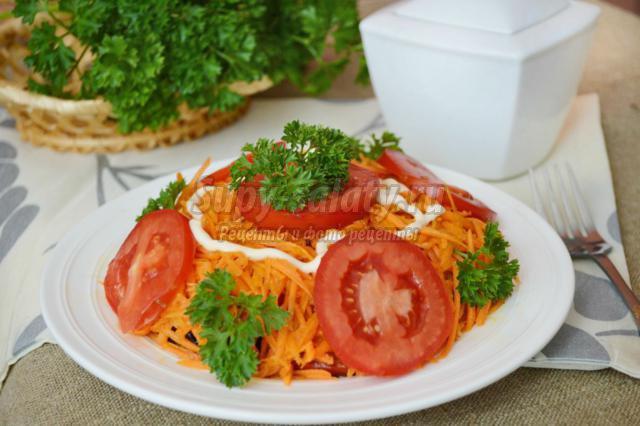 слоеный салат из баклажанов, моркови и помидоров