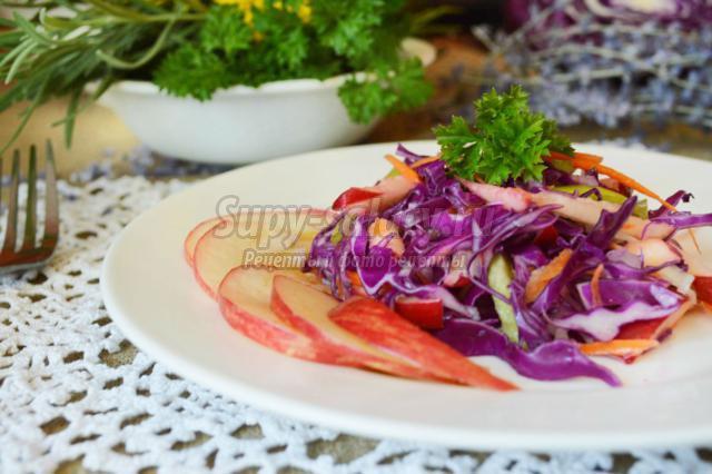 салат из краснокочанной капусты с яблоком и перцем
