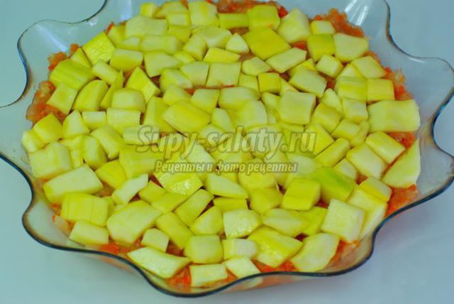 запеканка с кабачками, курицей и морковью