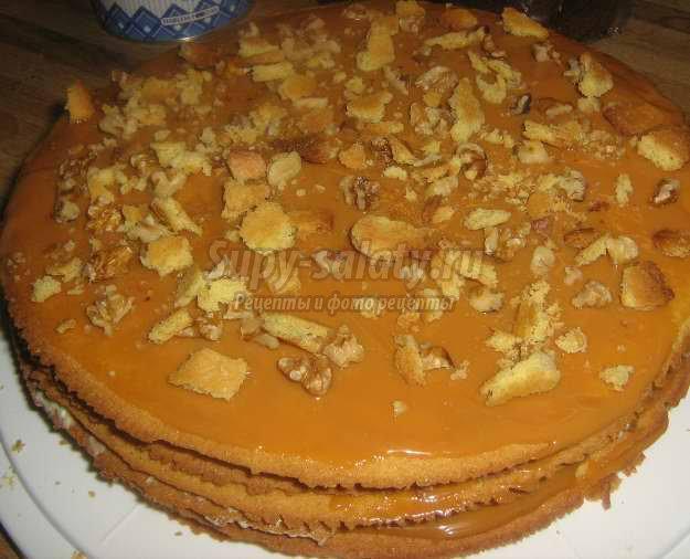 торт из коржей со сгущенкой рецепт с фото