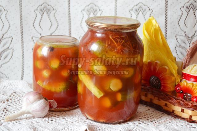 Маринованные огурцы в томатной пасте
