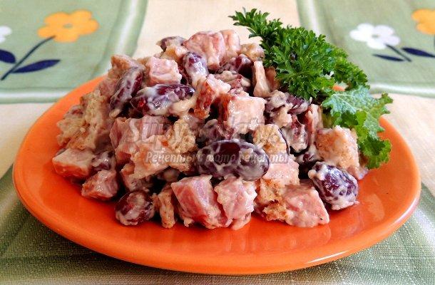 Салаты с сухарями и фасолью рецепты с