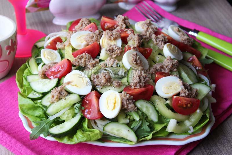 салат из тунца консервированного пошаговый рецепт