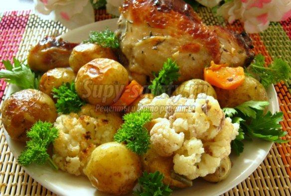 рецепты курица с цветной капустой в духовке