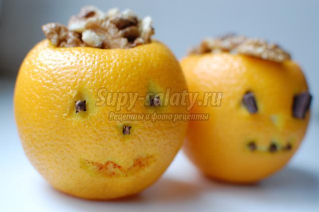 тыковки из апельсинов с желе на Хэллоуин