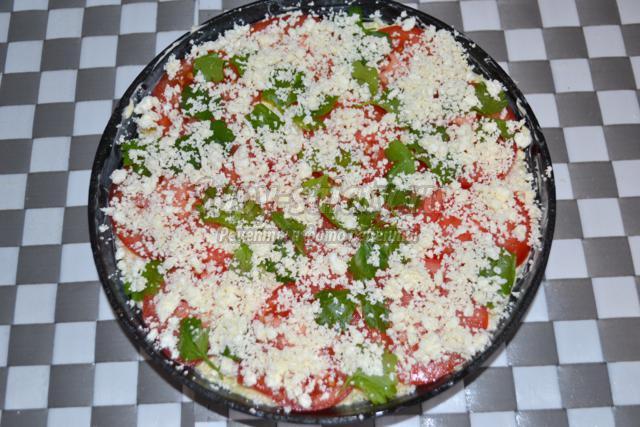 вегетарианская запеканка из кабачков с помидорами