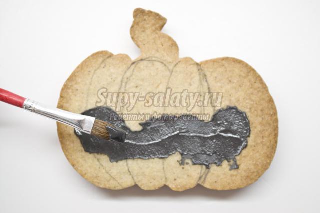 печенье на Хэллоуин. Тыква в горошек