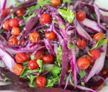 салат из красной капусты и калины