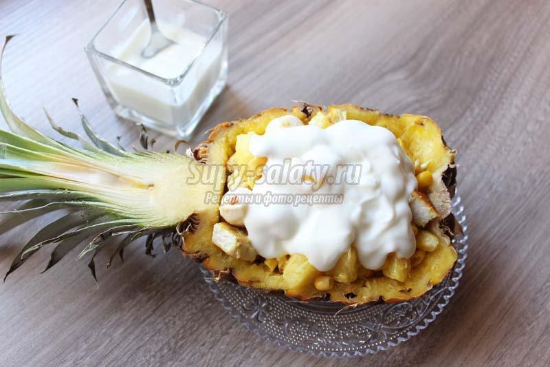 салат курица с ананасами рецепт слоями
