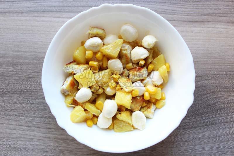 салат курица с ананасом пошаговый рецепт