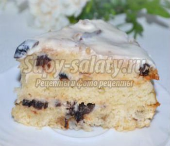 манный торт со сметаной и орехами
