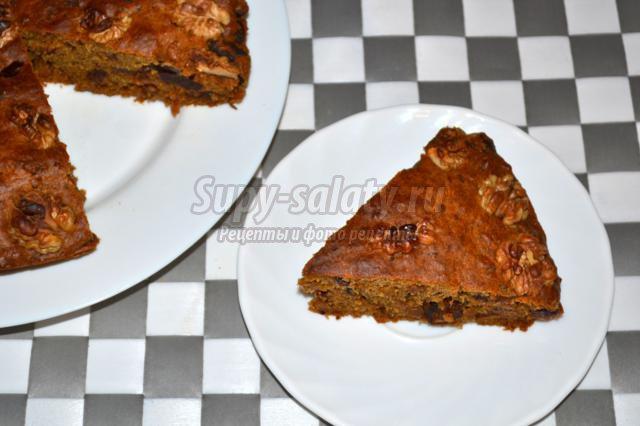 постный финиковый кекс с корицей и грецким орехам