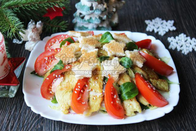 рождественский салат с курицей и крутонами