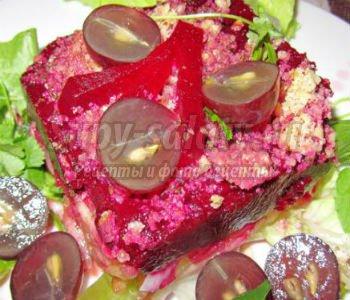 Слоеные салаты из свеклы с