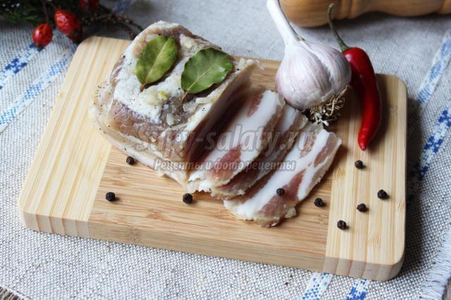 Соленая грудинка рецепт с фото пошаговый