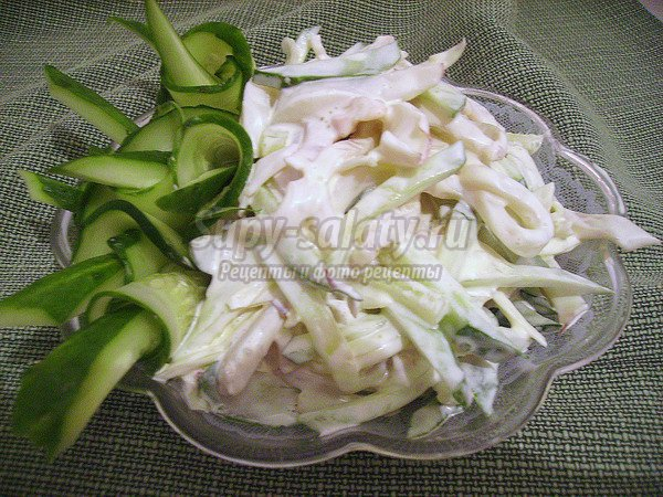 Салаты с кальмарами и свежим огурцом рецепты с очень вкусный