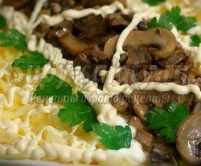 Салат с грибами и сыром. Золотые рецепты с фото