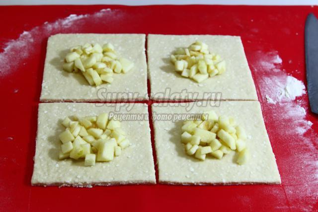 творожные конверты с яблоками