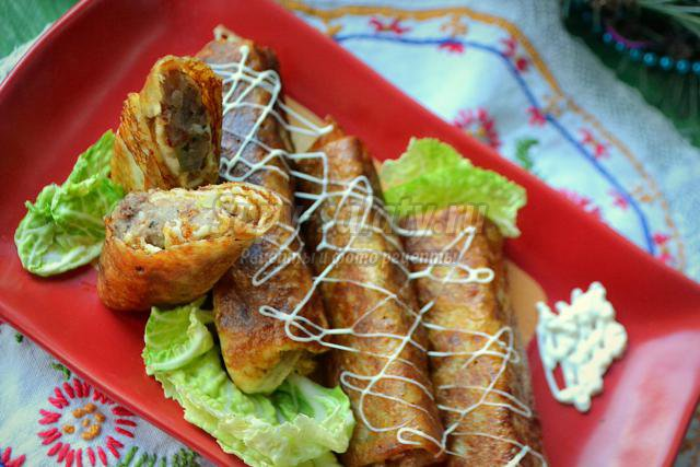 блинчики с потрошками, картофелем и яблоком