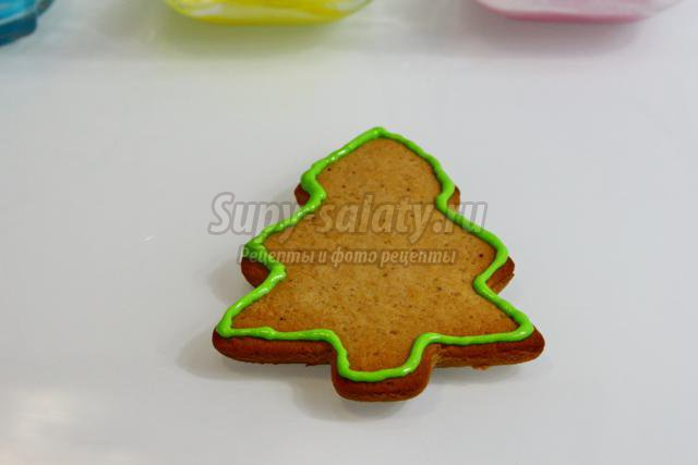 новогоднее печенье с глазурью. Ёлочка