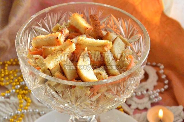 салат морковь грибы и курица рецепт