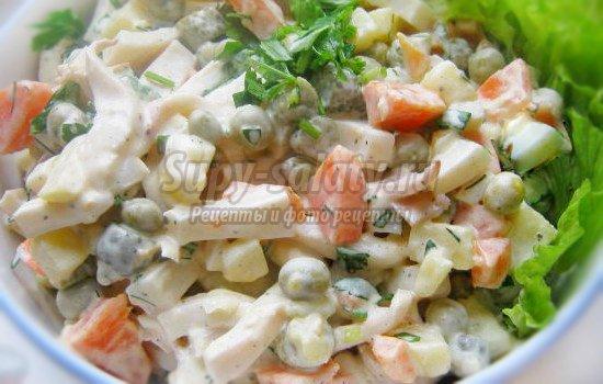 Новые салаты с кальмарами рецепты с фото