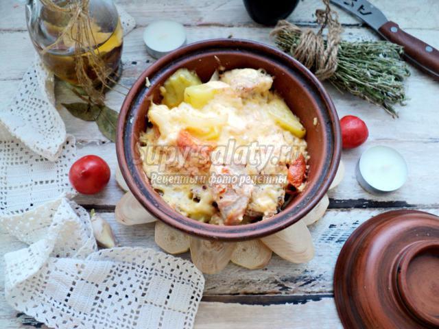 овощное рагу с индейкой в горшочке